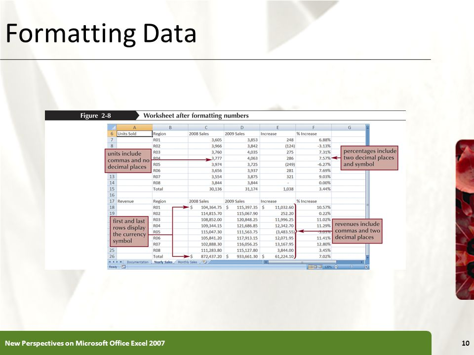 XP Formatting Data New Perspectives on Microsoft Office Excel