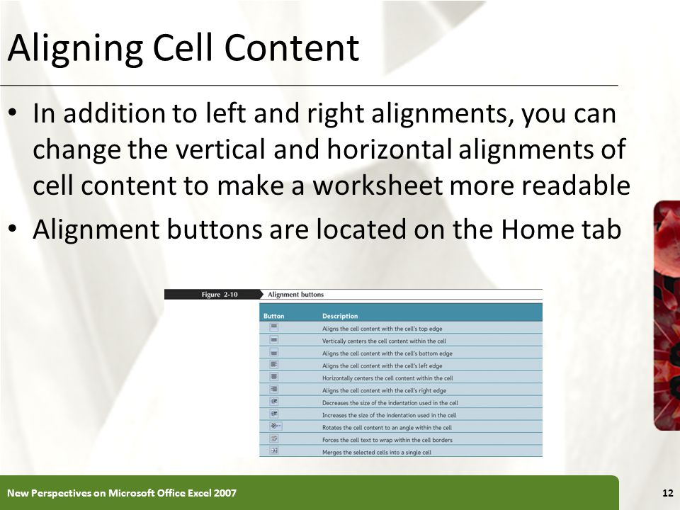 XP Aligning Cell Content In addition to left and right alignments, you can change the vertical and horizontal alignments of cell content to make a worksheet more readable Alignment buttons are located on the Home tab New Perspectives on Microsoft Office Excel