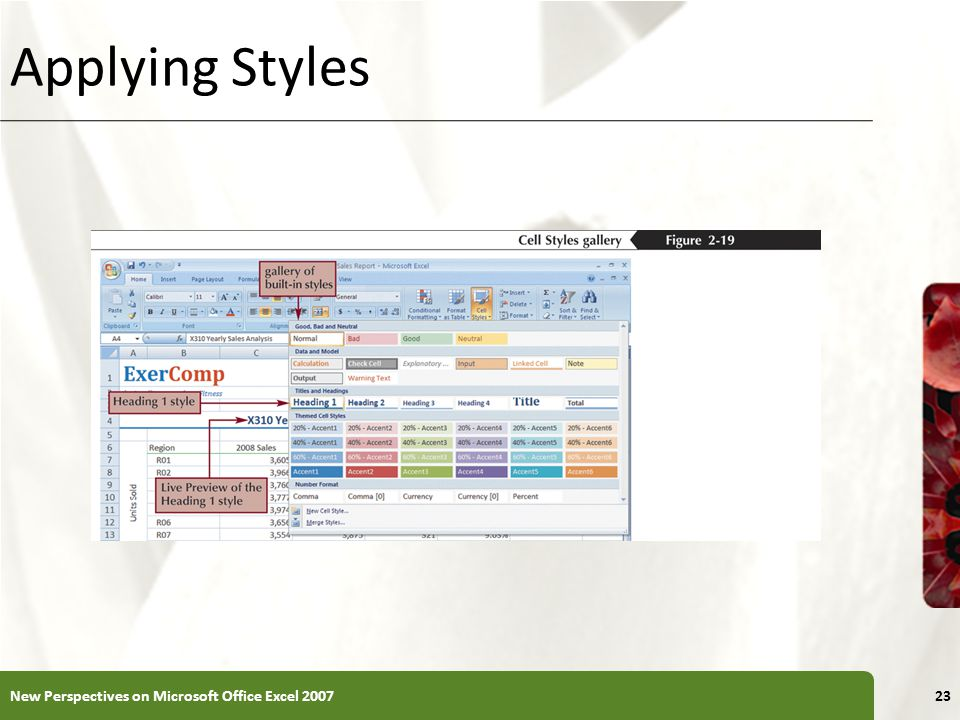 XP Applying Styles New Perspectives on Microsoft Office Excel