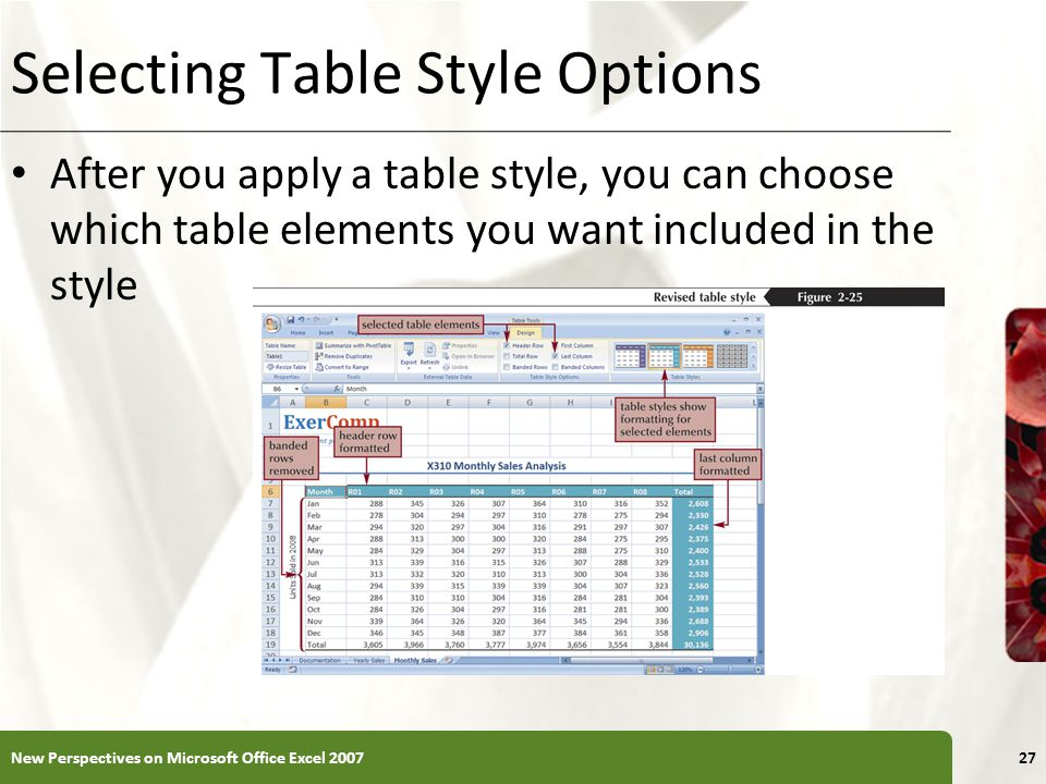 XP Selecting Table Style Options After you apply a table style, you can choose which table elements you want included in the style New Perspectives on Microsoft Office Excel