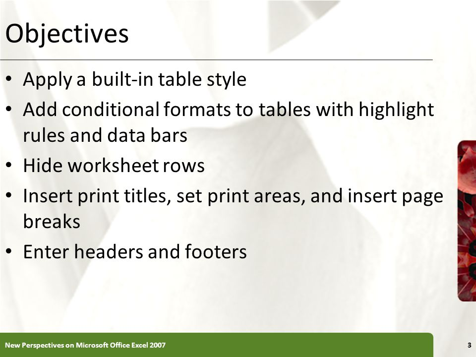 XP Objectives Apply a built-in table style Add conditional formats to tables with highlight rules and data bars Hide worksheet rows Insert print titles, set print areas, and insert page breaks Enter headers and footers New Perspectives on Microsoft Office Excel 20073
