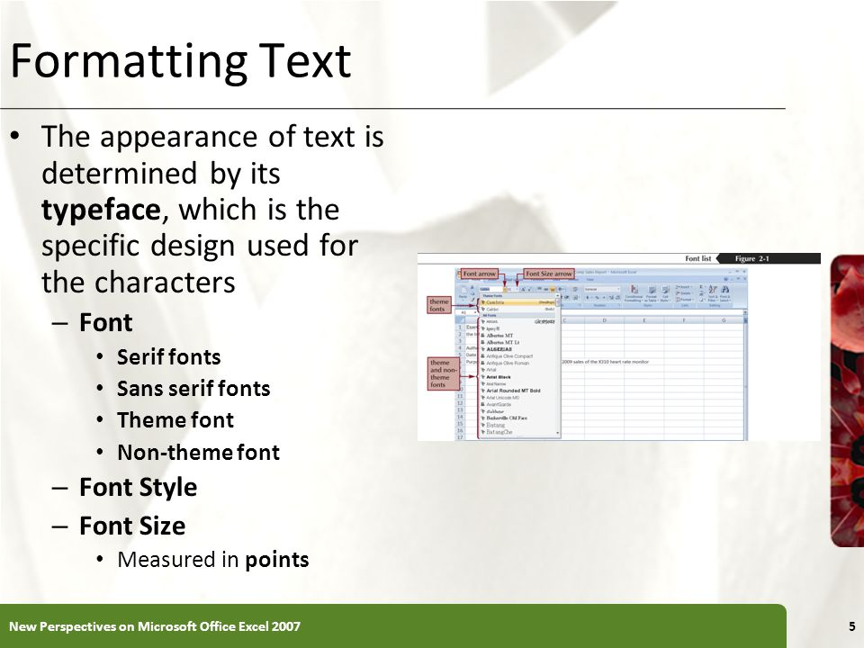 XP Formatting Text The appearance of text is determined by its typeface, which is the specific design used for the characters – Font Serif fonts Sans serif fonts Theme font Non-theme font – Font Style – Font Size Measured in points New Perspectives on Microsoft Office Excel 20075
