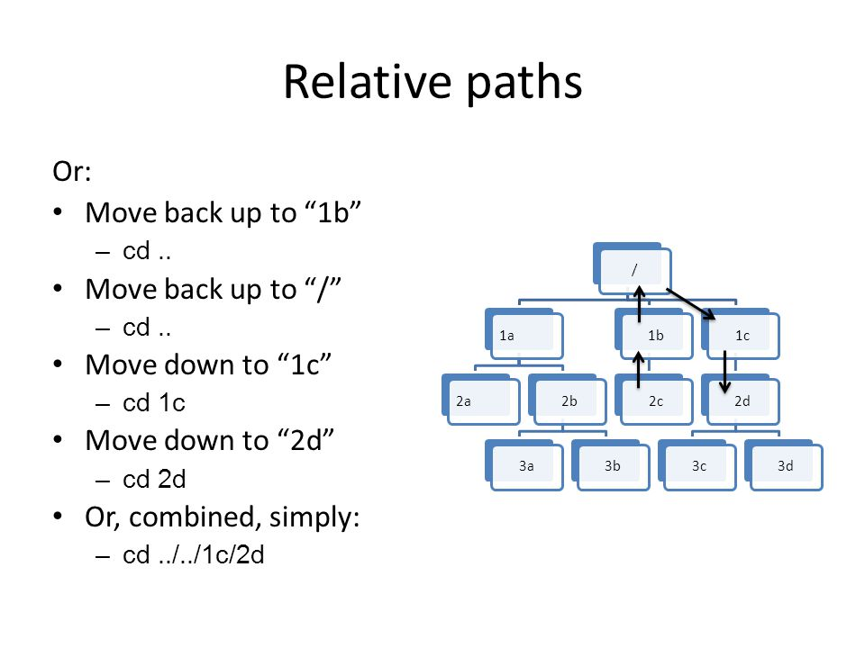Relative paths Or: Move back up to 1b –cd.. Move back up to / –cd..