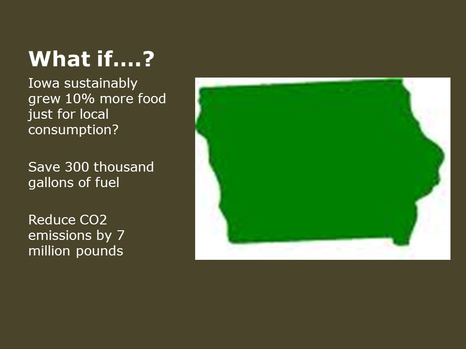 What if….. Iowa sustainably grew 10% more food just for local consumption.