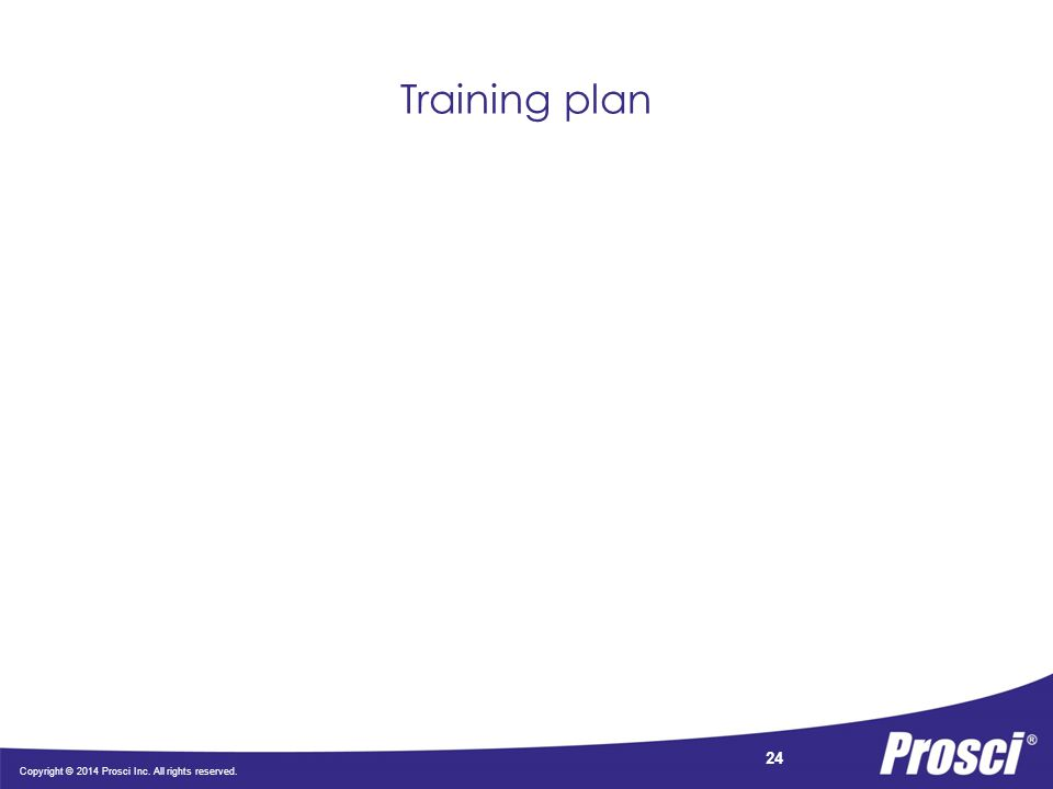Copyright © 2014 Prosci Inc. All rights reserved. 24 Training plan