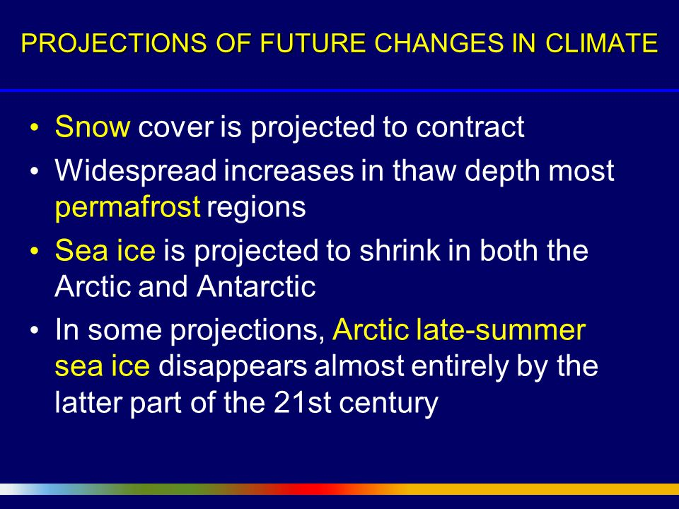 Snow cover is projected to contract Widespread increases in thaw depth most permafrost regions Sea ice is projected to shrink in both the Arctic and Antarctic In some projections, Arctic late-summer sea ice disappears almost entirely by the latter part of the 21st century PROJECTIONS OF FUTURE IN CLIMATE PROJECTIONS OF FUTURE CHANGES IN CLIMATE
