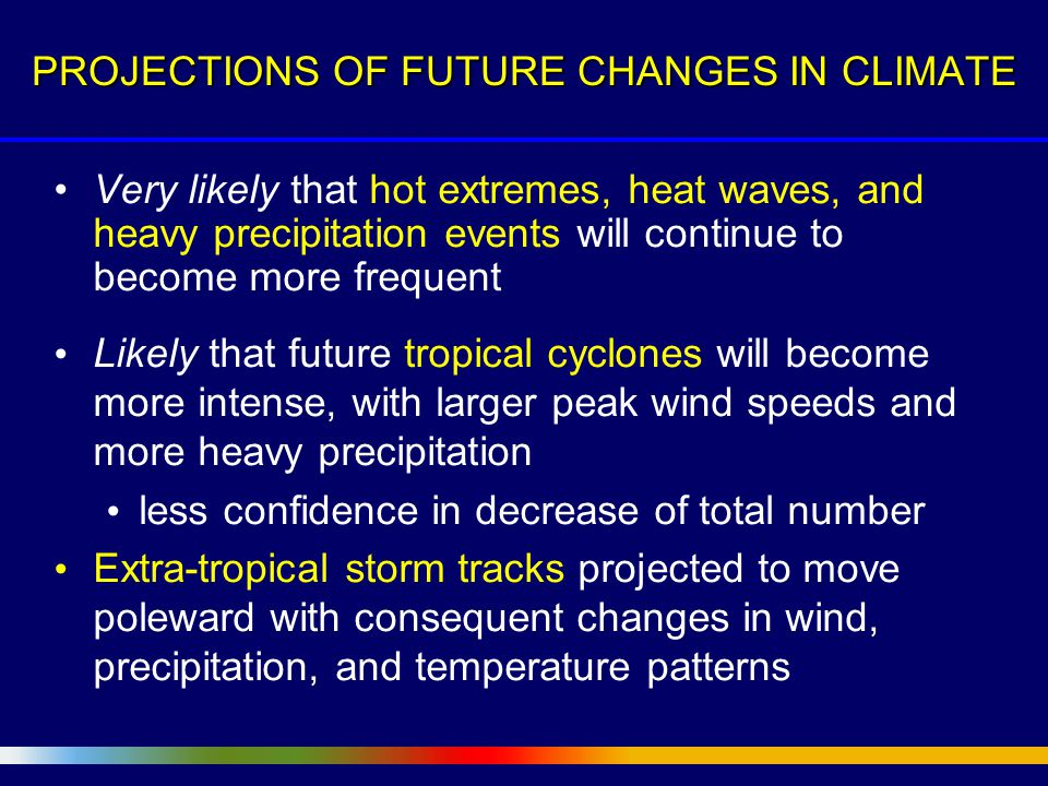 Very likely that hot extremes, heat waves, and heavy precipitation events will continue to become more frequent Likely that future tropical cyclones will become more intense, with larger peak wind speeds and more heavy precipitation less confidence in decrease of total number Extra-tropical storm tracks projected to move poleward with consequent changes in wind, precipitation, and temperature patterns PROJECTIONS OF FUTURE CHANGES IN CLIMATE