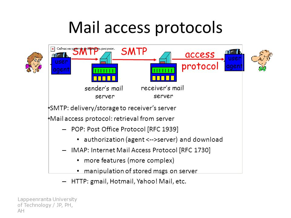 Lappeenranta University of Technology / JP, PH, AH Mail access protocols SMTP: delivery/storage to receiver's server Mail access protocol: retrieval from server – POP: Post Office Protocol [RFC 1939] authorization (agent server) and download – IMAP: Internet Mail Access Protocol [RFC 1730] more features (more complex) manipulation of stored msgs on server – HTTP: gmail, Hotmail, Yahoo.