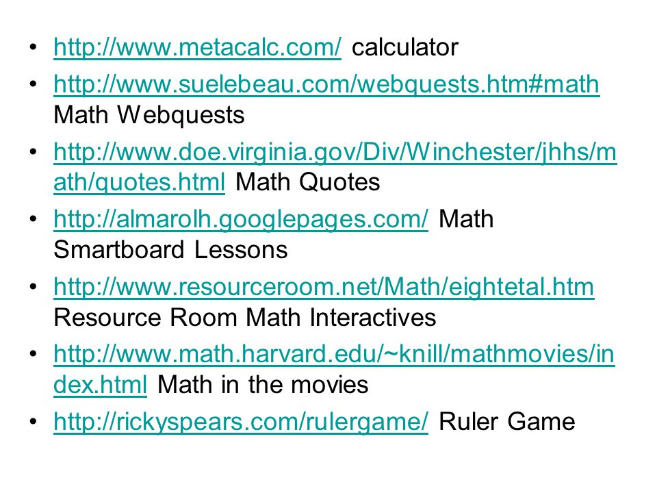 Interactive Websites for Math and Science  Resources are