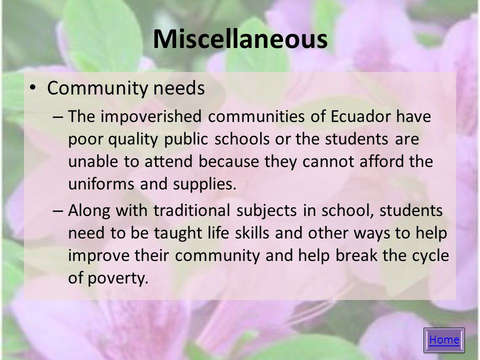 Miscellaneous Community needs – The impoverished communities of Ecuador have poor quality public schools or the students are unable to attend because they cannot afford the uniforms and supplies.
