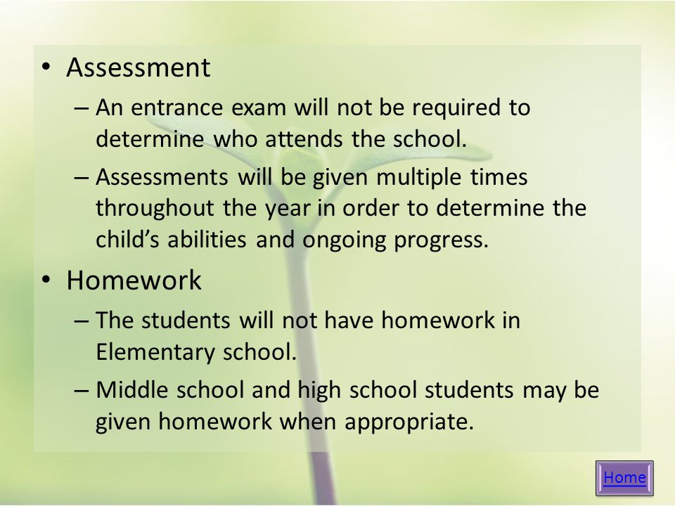 Assessment – An entrance exam will not be required to determine who attends the school.