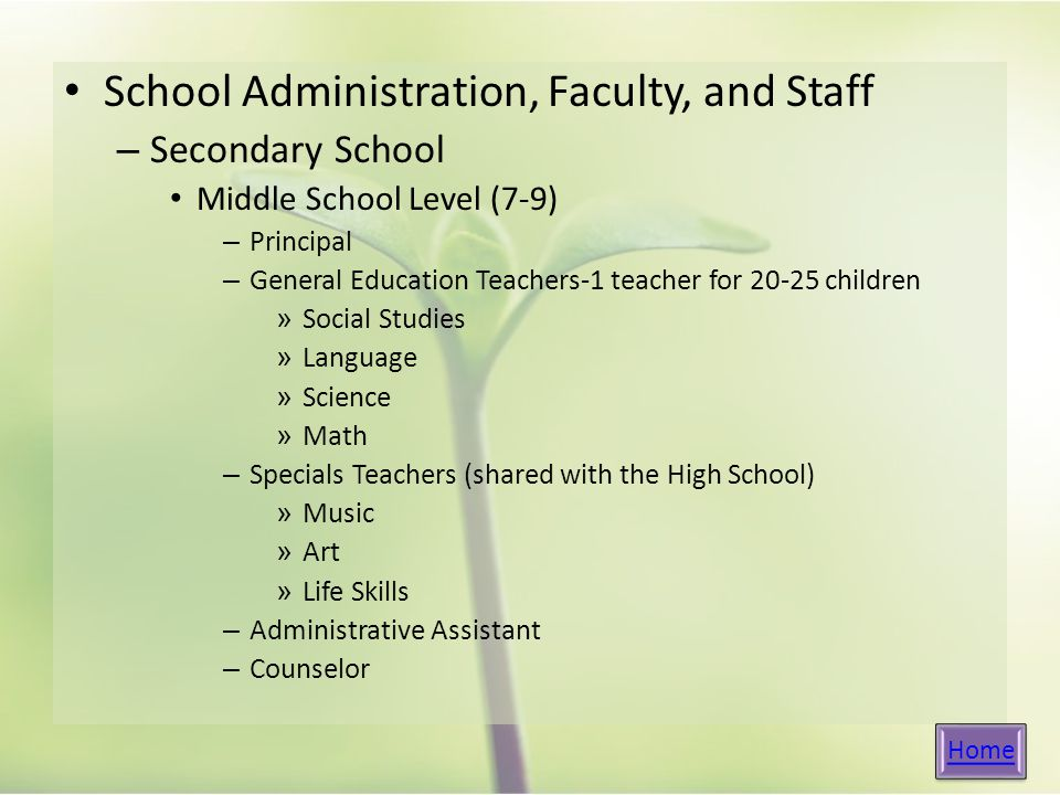 School Administration, Faculty, and Staff – Secondary School Middle School Level (7-9) – Principal – General Education Teachers-1 teacher for children » Social Studies » Language » Science » Math – Specials Teachers (shared with the High School) » Music » Art » Life Skills – Administrative Assistant – Counselor Home