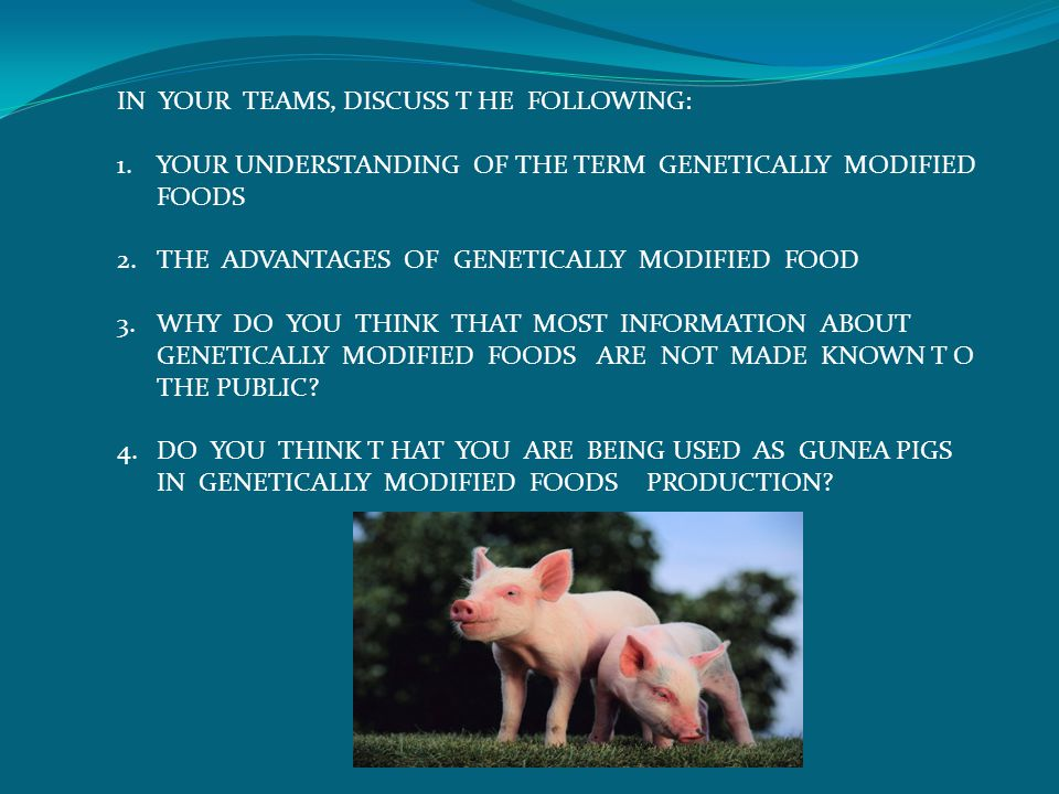IN YOUR TEAMS, DISCUSS T HE FOLLOWING: 1.YOUR UNDERSTANDING OF THE TERM GENETICALLY MODIFIED FOODS 2.THE ADVANTAGES OF GENETICALLY MODIFIED FOOD 3.WHY DO YOU THINK THAT MOST INFORMATION ABOUT GENETICALLY MODIFIED FOODS ARE NOT MADE KNOWN T O THE PUBLIC.