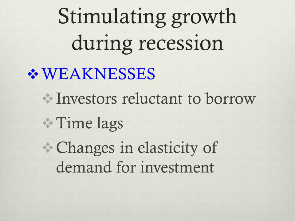 Stimulating growth during recession  WEAKNESSES  Investors reluctant to borrow  Time lags  Changes in elasticity of demand for investment