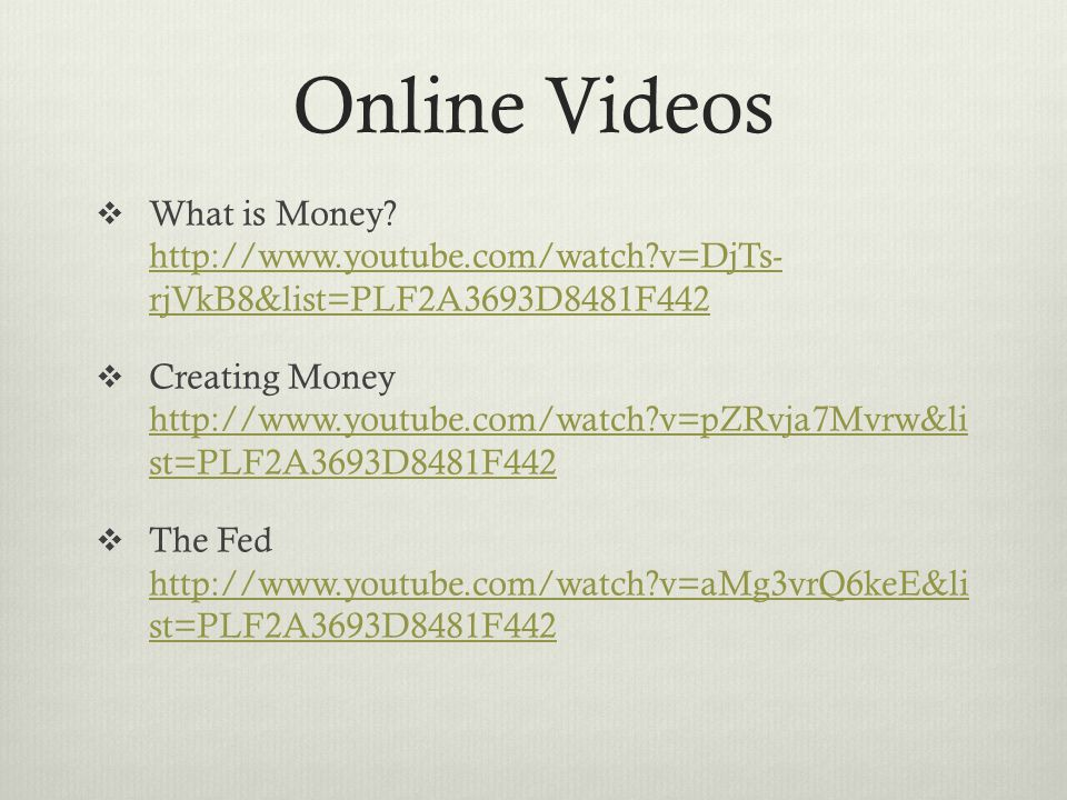Online Videos  What is Money.