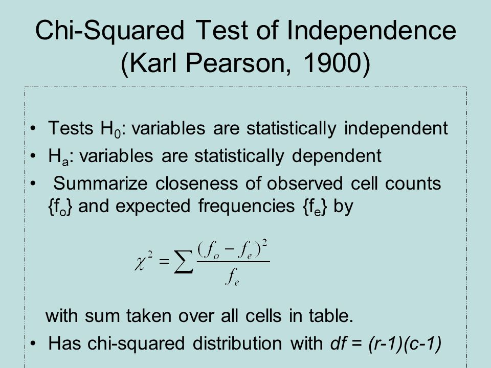 Chi-Squared Test of Independence (Karl Pearson, 1900) Tests H 0 : variables are statistically independent H a : variables are statistically dependent Summarize closeness of observed cell counts {f o } and expected frequencies {f e } by with sum taken over all cells in table.