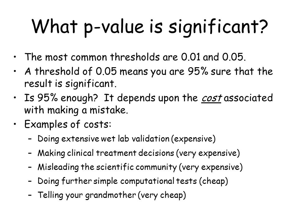 What p-value is significant. The most common thresholds are 0.01 and