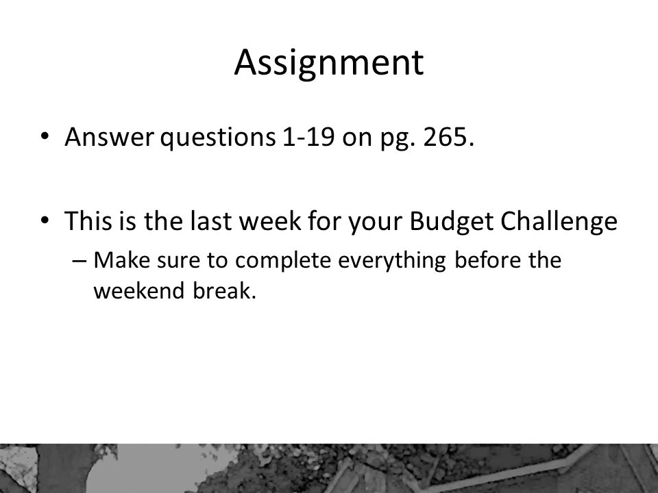 Assignment Answer questions 1-19 on pg