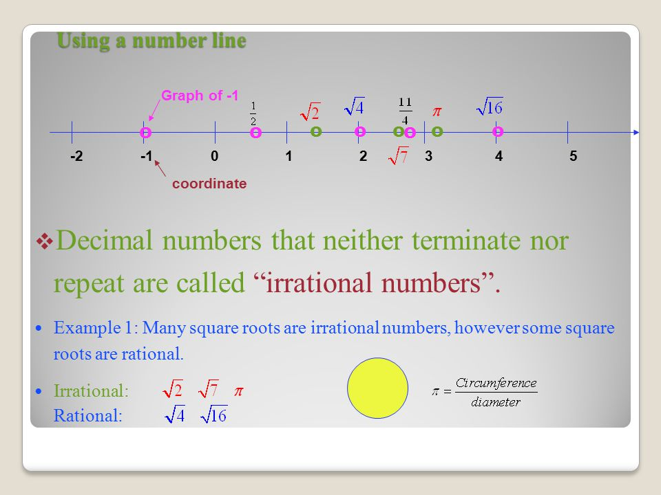 Using a number line  Decimal numbers that neither terminate nor repeat are called irrational numbers .