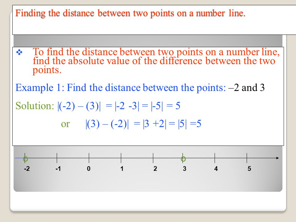 Finding the distance between two points on a number line.