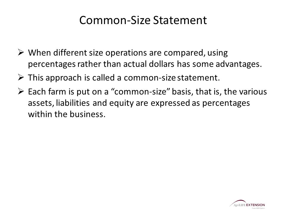 Common-Size Statement  When different size operations are compared, using percentages rather than actual dollars has some advantages.