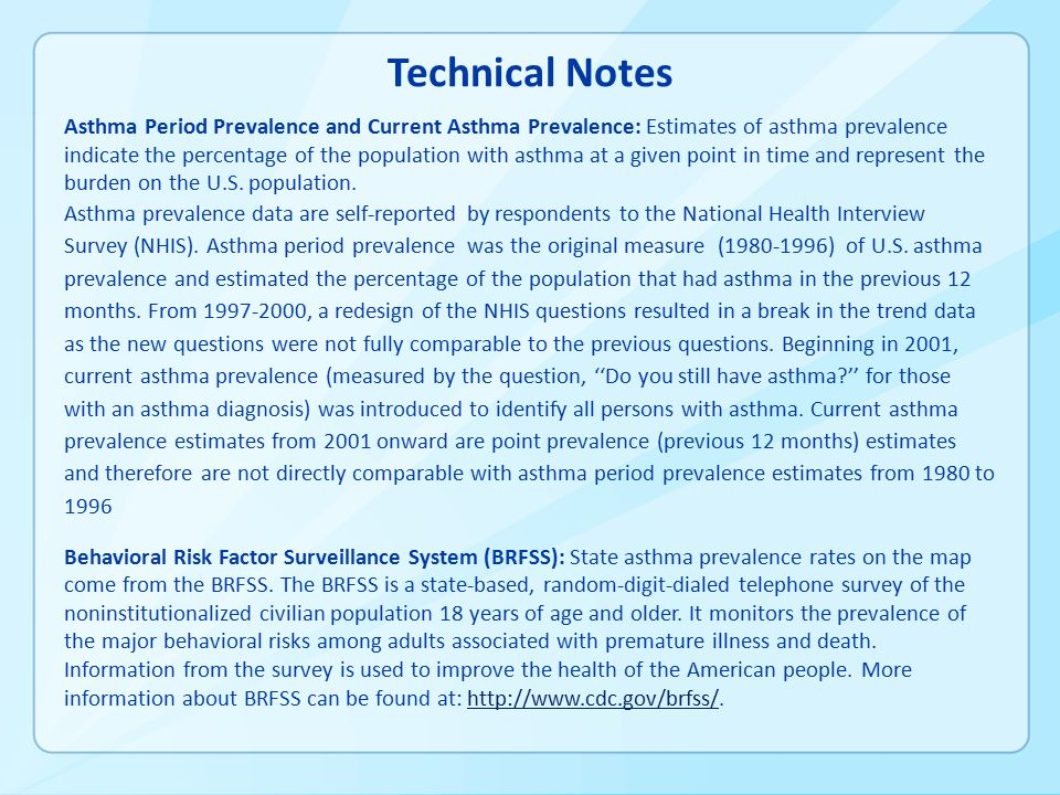 Technical Notes Asthma Period Prevalence and Current Asthma Prevalence: Estimates of asthma prevalence indicate the percentage of the population with asthma at a given point in time and represent the burden on the U.S.