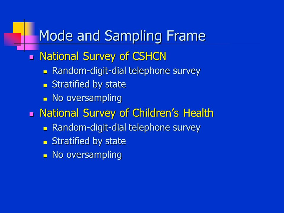 Mode and Sampling Frame National Survey of CSHCN National Survey of CSHCN Random-digit-dial telephone survey Random-digit-dial telephone survey Stratified by state Stratified by state No oversampling No oversampling National Survey of Children's Health National Survey of Children's Health Random-digit-dial telephone survey Random-digit-dial telephone survey Stratified by state Stratified by state No oversampling No oversampling