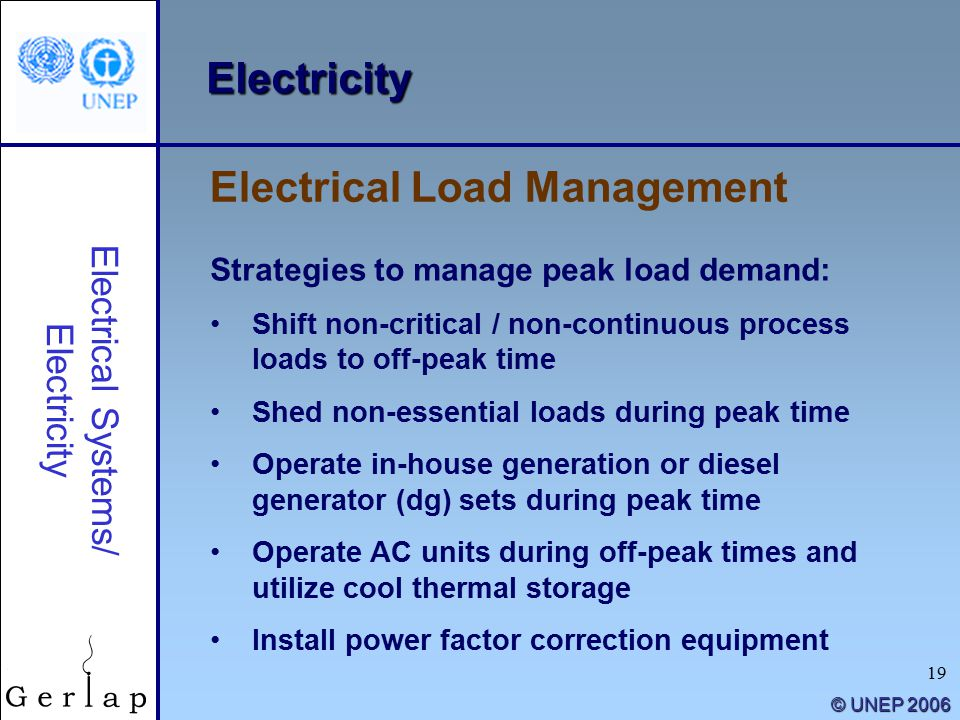 19 © UNEP 2006 Electricity Strategies to manage peak load demand: Shift non-critical / non-continuous process loads to off-peak time Shed non-essential loads during peak time Operate in-house generation or diesel generator (dg) sets during peak time Operate AC units during off-peak times and utilize cool thermal storage Install power factor correction equipment Electrical Load Management Electrical Systems/ Electricity