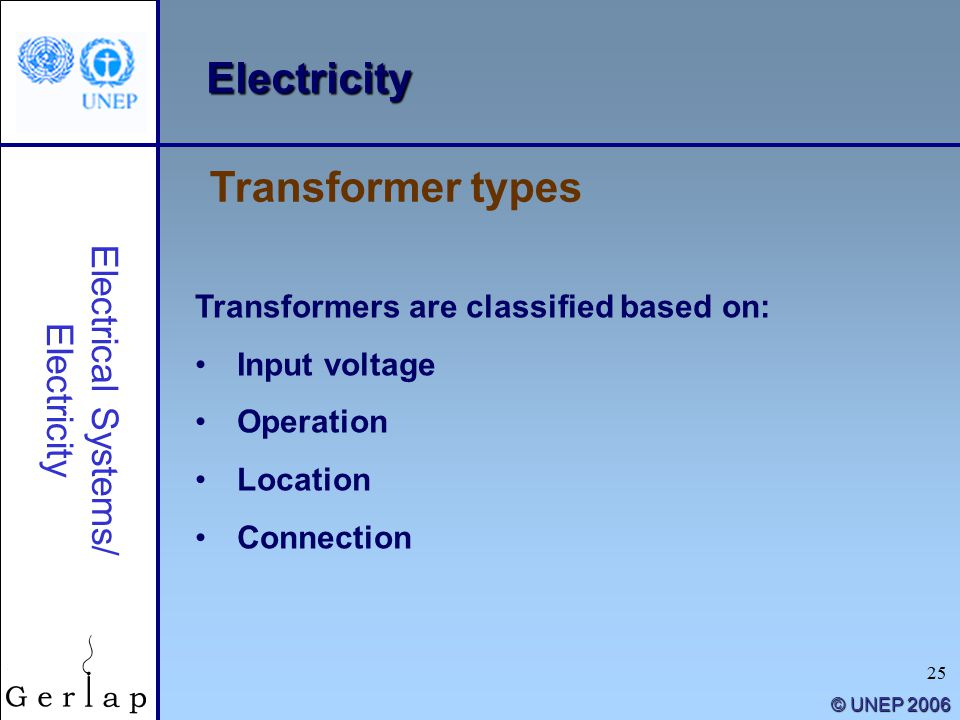 25 © UNEP 2006 Electricity Transformers are classified based on: Input voltage Operation Location Connection Transformer types Electrical Systems/ Electricity