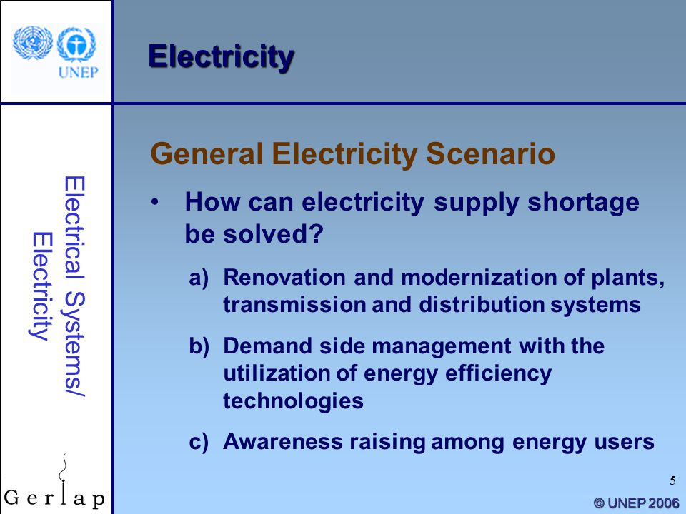 5 © UNEP 2006 Electricity How can electricity supply shortage be solved.