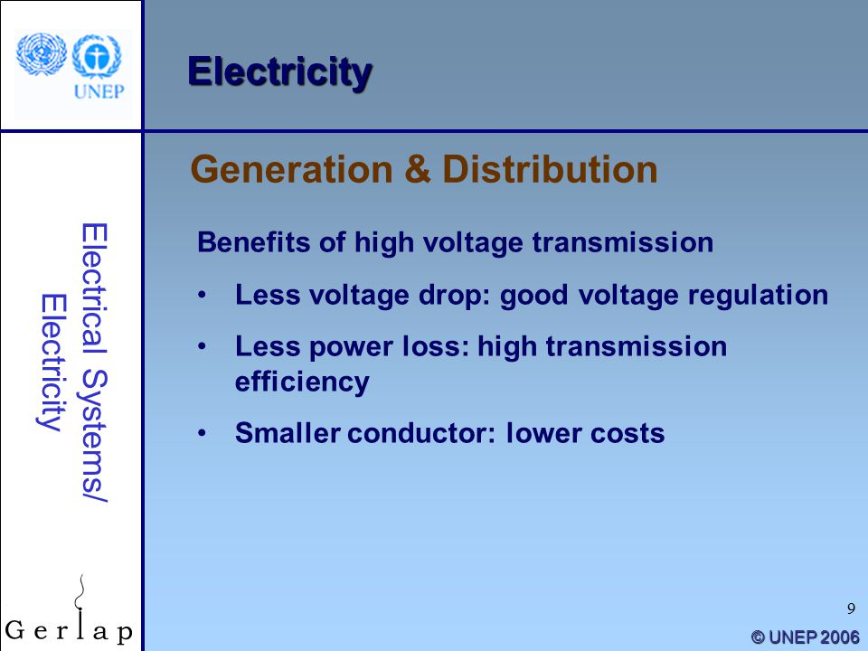 9 © UNEP 2006 Electricity Benefits of high voltage transmission Less voltage drop: good voltage regulation Less power loss: high transmission efficiency Smaller conductor: lower costs Electrical Systems/ Electricity Generation & Distribution