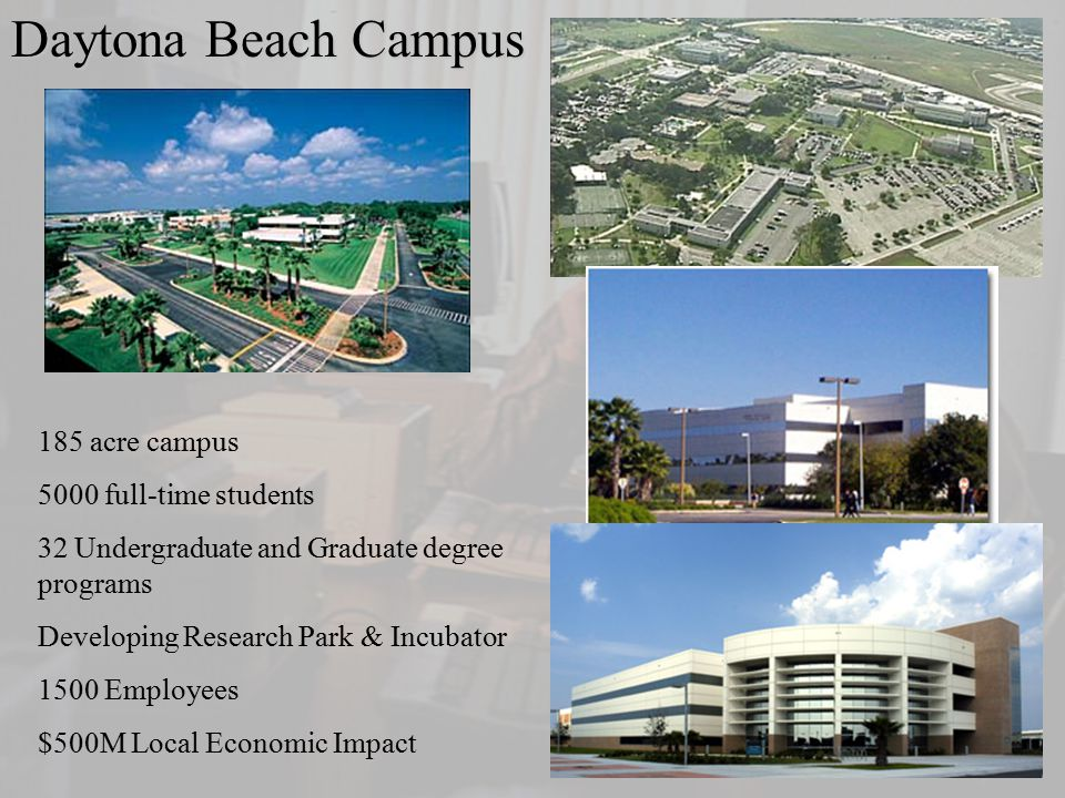 Extended Campus Daytona Beach Campus 185 acre campus 5000 full-time students 32 Undergraduate and Graduate degree programs Developing Research Park & Incubator 1500 Employees $500M Local Economic Impact