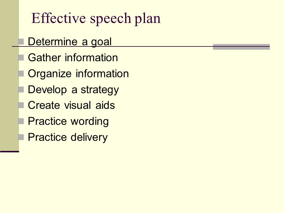 Effective speech plan Determine a goal Gather information Organize information Develop a strategy Create visual aids Practice wording Practice delivery