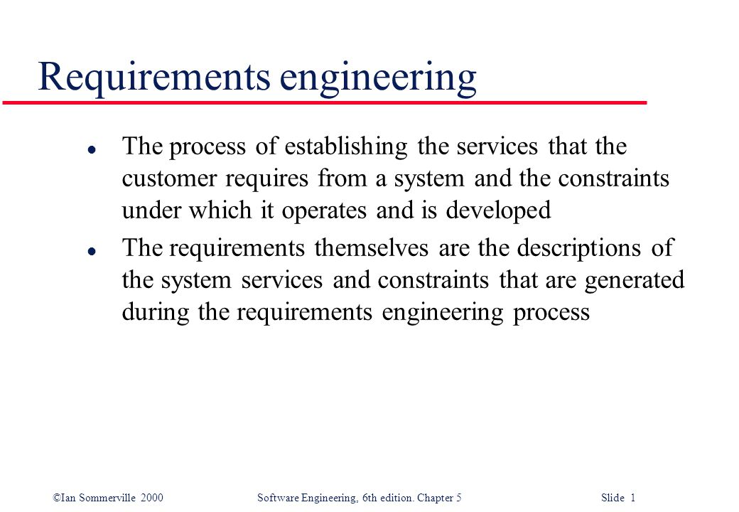 ©Ian Sommerville 2000 Software Engineering, 6th edition.