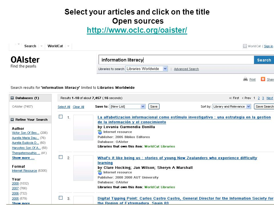 Select your articles and click on the title Open sources