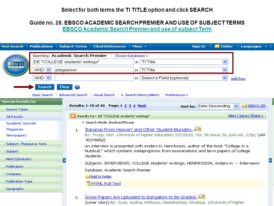 Select for both terms the TI TITLE option and click SEARCH Guide no.