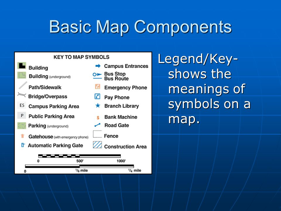 Basic Map Components Legend/Key- shows the meanings of symbols on a map.