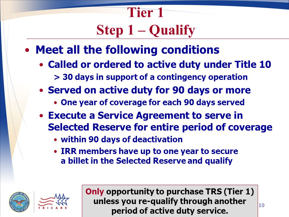 Slide 9 Getting TRS Coverage Two Step Procedure Step 1 – Qualify Reserve component validates qualifications and identifies premium tier Step 2 – Purchase Coverage Member submits completed TRS request form and correct payment to TRICARE Regional contractor