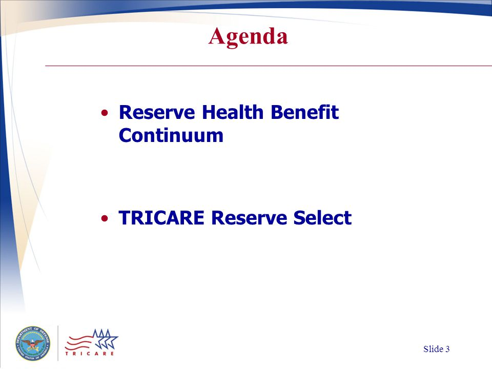 Slide 2 RC TRICARE Beneficiaries 530,920Activated RC members 714,079RC Family members 1,244,999RC TRICARE beneficiaries 9/11/2001 – 5/31/2006 Source: DEERS
