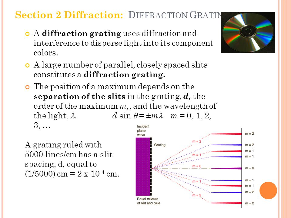 A diffraction grating uses diffraction and interference to disperse light into its component colors.