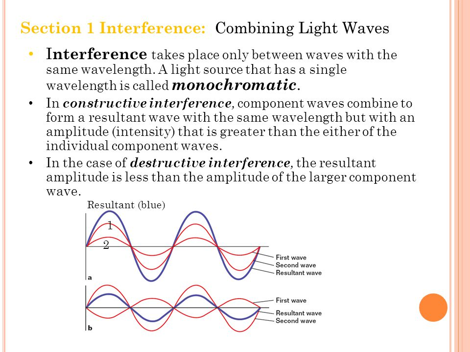 Section 1 Interference: Combining Light Waves I nterference takes place only between waves with the same wavelength.