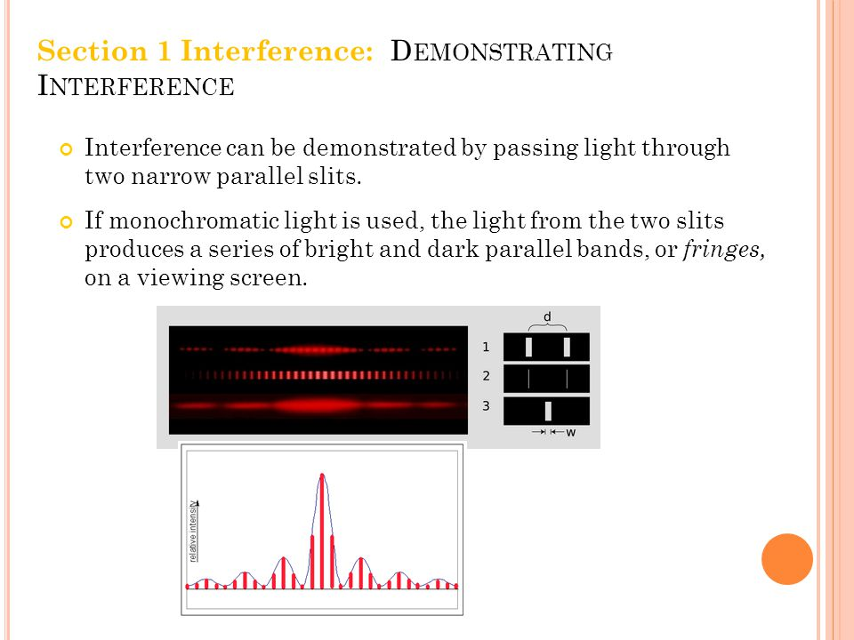 Interference can be demonstrated by passing light through two narrow parallel slits.