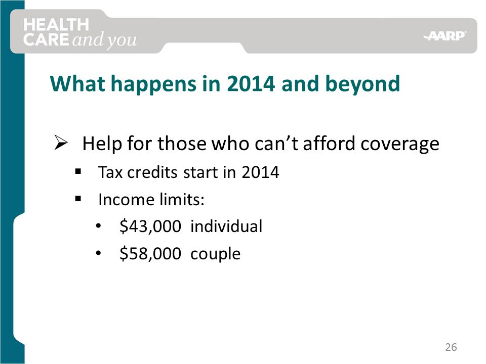 What happens in 2014 and beyond  Help for those who can't afford coverage  Tax credits start in 2014  Income limits: $43,000 individual $58,000 couple 26