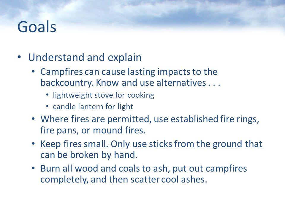 Minimize Campfire Impacts Leave No Trace Trainer Certification Bob