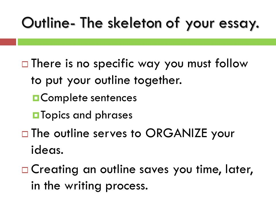 Outline- The skeleton of your essay.