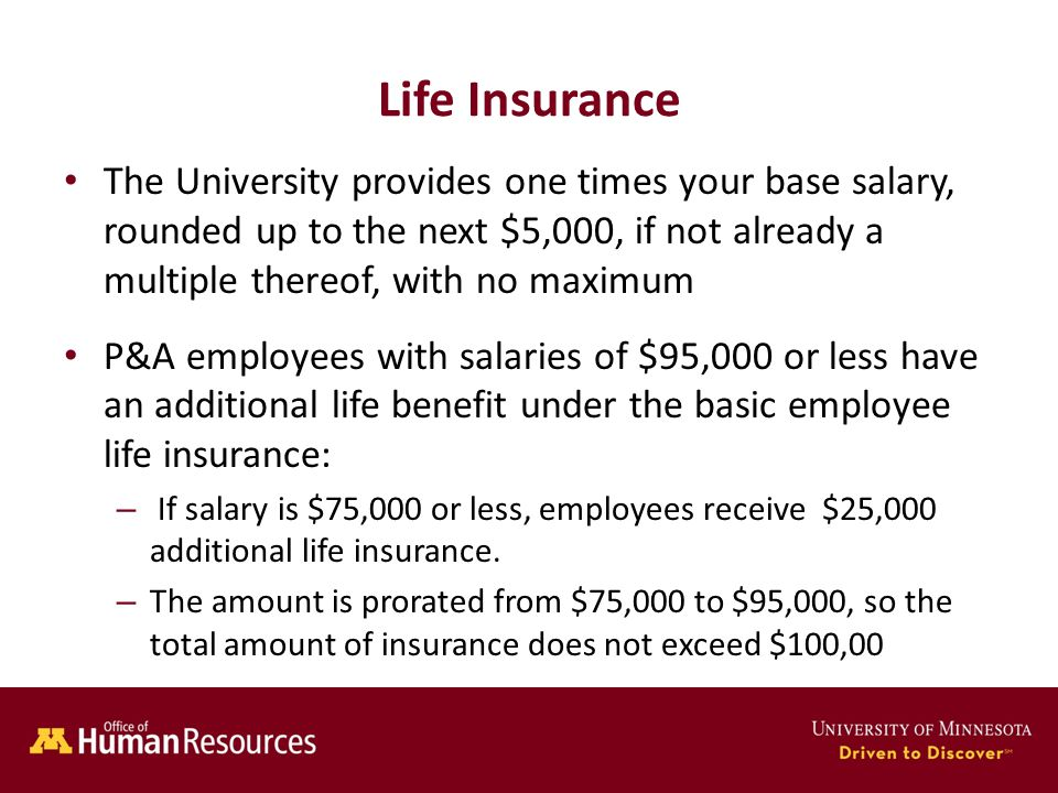 Human Resources Office of Life Insurance The University provides one times your base salary, rounded up to the next $5,000, if not already a multiple thereof, with no maximum P&A employees with salaries of $95,000 or less have an additional life benefit under the basic employee life insurance: – If salary is $75,000 or less, employees receive $25,000 additional life insurance.
