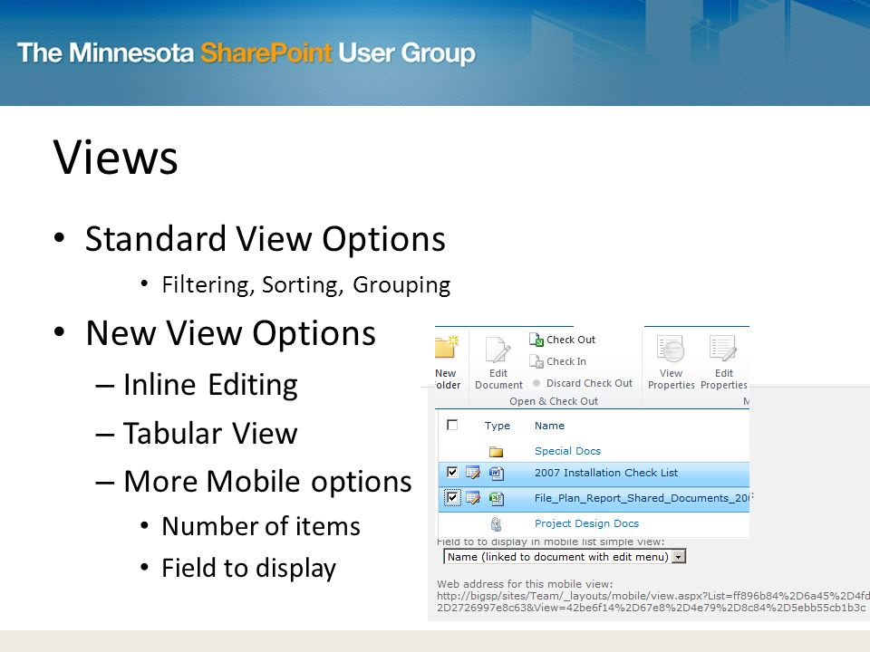 Views Standard View Options Filtering, Sorting, Grouping New View Options – Inline Editing – Tabular View – More Mobile options Number of items Field to display