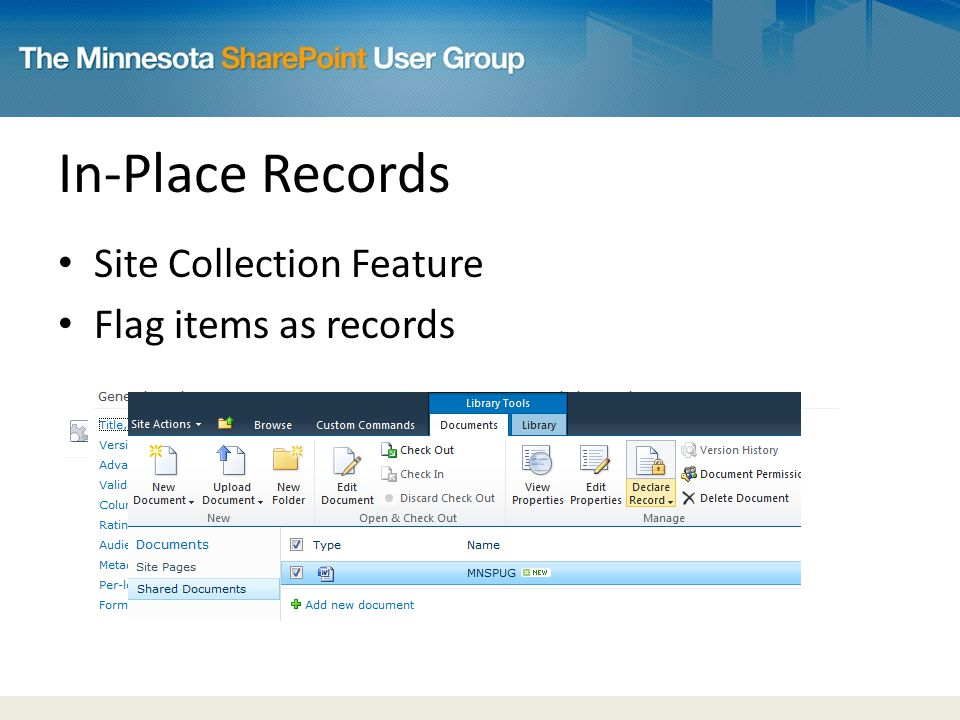 In-Place Records Site Collection Feature Flag items as records