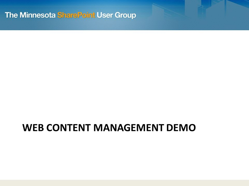 WEB CONTENT MANAGEMENT DEMO