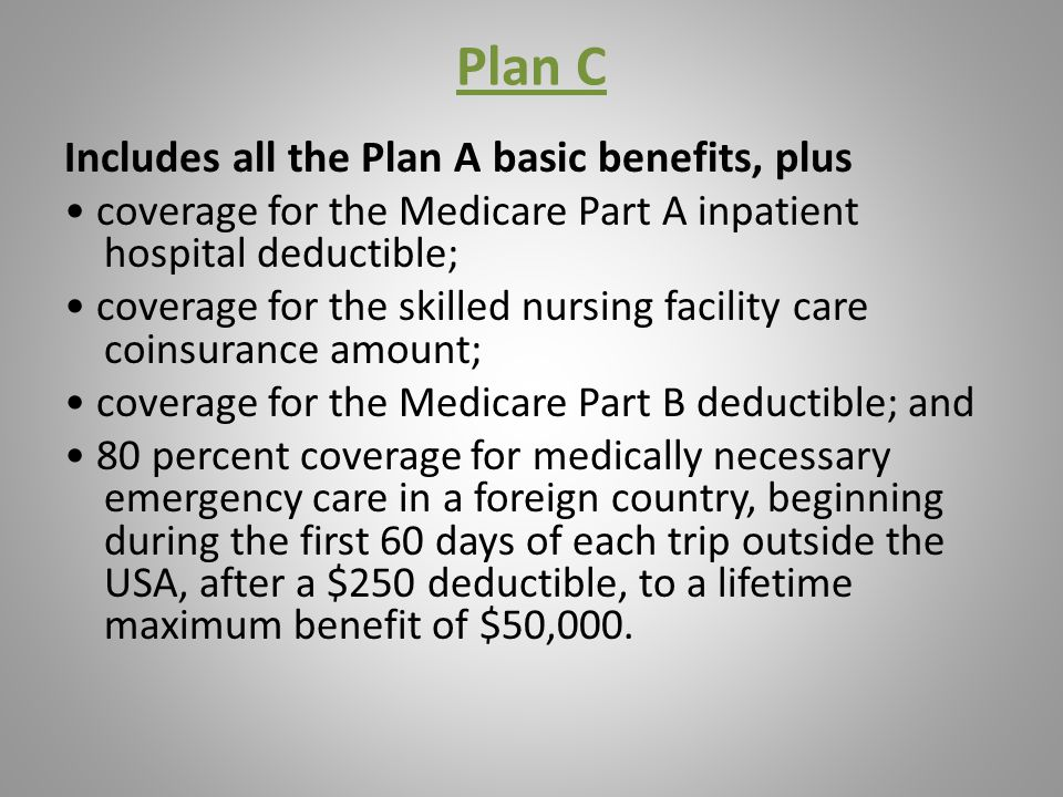 Plan C Includes all the Plan A basic benefits, plus coverage for the Medicare Part A inpatient hospital deductible; coverage for the skilled nursing facility care coinsurance amount; coverage for the Medicare Part B deductible; and 80 percent coverage for medically necessary emergency care in a foreign country, beginning during the first 60 days of each trip outside the USA, after a $250 deductible, to a lifetime maximum benefit of $50,000.